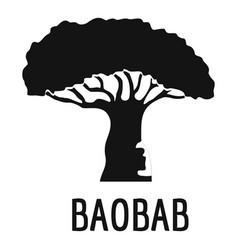 Baobab tree icon simple black style vector