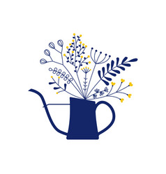 Beautiful bouquet in watering can vector