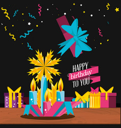 birthday gift with candles and icons vector image