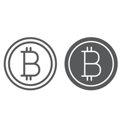bitcoin line and glyph icon money and finance vector image