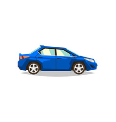 blue car sedan side view transport for travel vector image