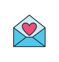 blue envelope with red heart icon love vector image