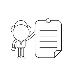 businessman character holding written paper black vector image