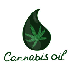 cannabis oil logo isolated on white background vector image