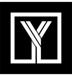 Capital letter y from white stripe enclosed vector
