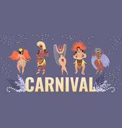 carnival banner with funny characters vector image