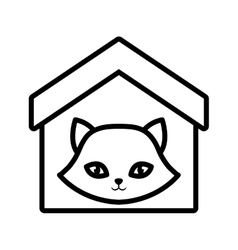 Cat nose funny animal house pet outline vector