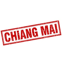Chiang mai red square grunge stamp on white vector
