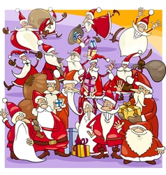 Christmas santa group cartoon vector