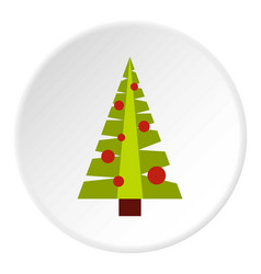 christmas tree with toys icon circle vector image
