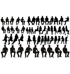 collection silhouettes people sitting men vector image