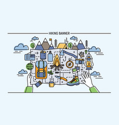 Concept of hiking backpacking active vacation vector