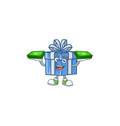 Confident smiley blue gift box character with vector