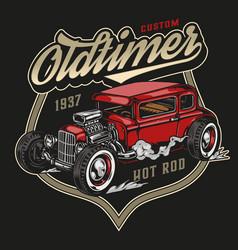 Custom retro car vintage label vector
