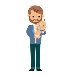 cute father holding her baby son image vector image