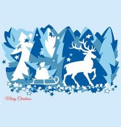 Deer in winter forest vector