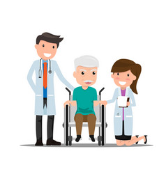 Doctor and older man patient in flat style vector