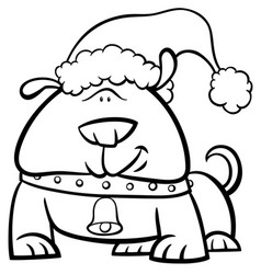 Dog on christmas coloring book vector