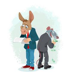 Donkey and rat in metaphor vector