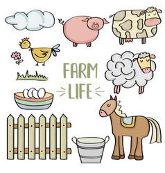 doodle animal farm set vector image