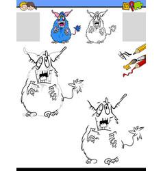 drawing and coloring worksheet with monster vector image