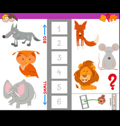 Educational game with large and small animals vector
