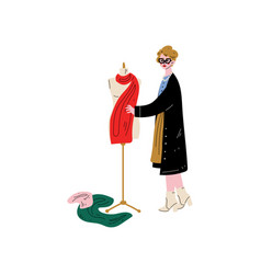 Female tailor character sewing dress on vector
