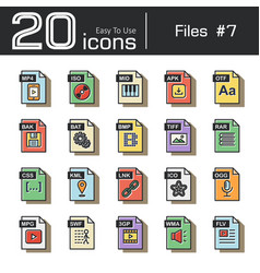 files icon set 7 vector image