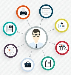 Flat customer office concept - icons and vector