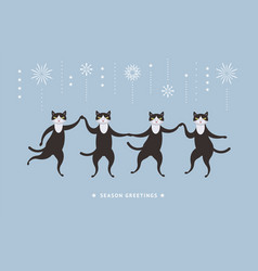four cute black cats vector image