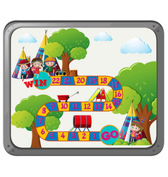 Game template with kids and teepee vector