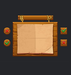 Game ui kit template wooden menu of vector