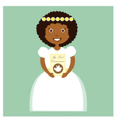 Girl in white communion dress vector