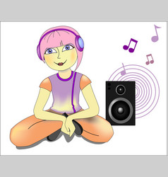girl with pink hair in headphones vector image