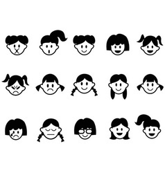 girls emotion face icons vector image