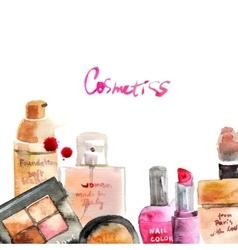 Glamorous make up watercolor cosmetics vector