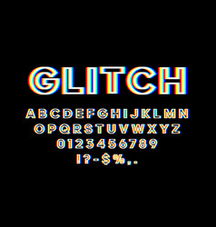 Glitch font with distortion 3d effect english vector