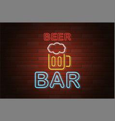 glowing neon signboard beer bar on brick wall vector image