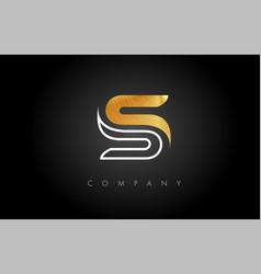 Gold s logo s letter icon design vector