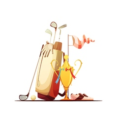 Golf Bag And Trophy Retro Icon vector