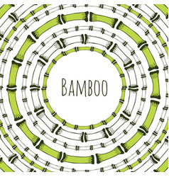 Green bamboo circle frame doodle label for vector