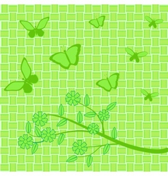 green flowers and butterflies on green background vector image