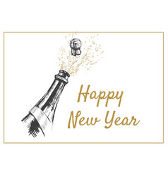 happy new year hand drawn of vector image