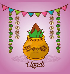 happy ugadi festival set template greeting card vector image