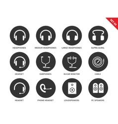 Headphones icons on white background vector