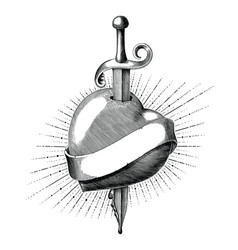 heart with sword tattoo hand draw vintage vector image