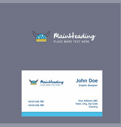 helmet logo design with business card template vector image