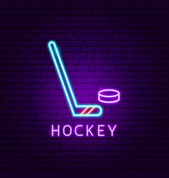 hockey game neon label vector image