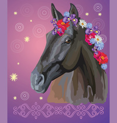 horse portrait with flowers6 vector image