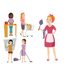 housewifes homemaker woman cute cleaning cartoon vector image